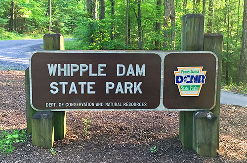 The sign to Whipple Dam State Park near State College Pennsylvania