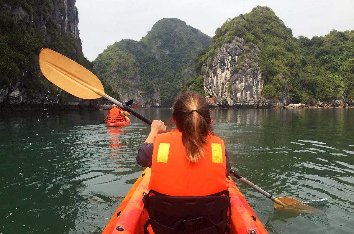 Kayaking in Halong Bay during our 3-day cruise with Oriental Sails