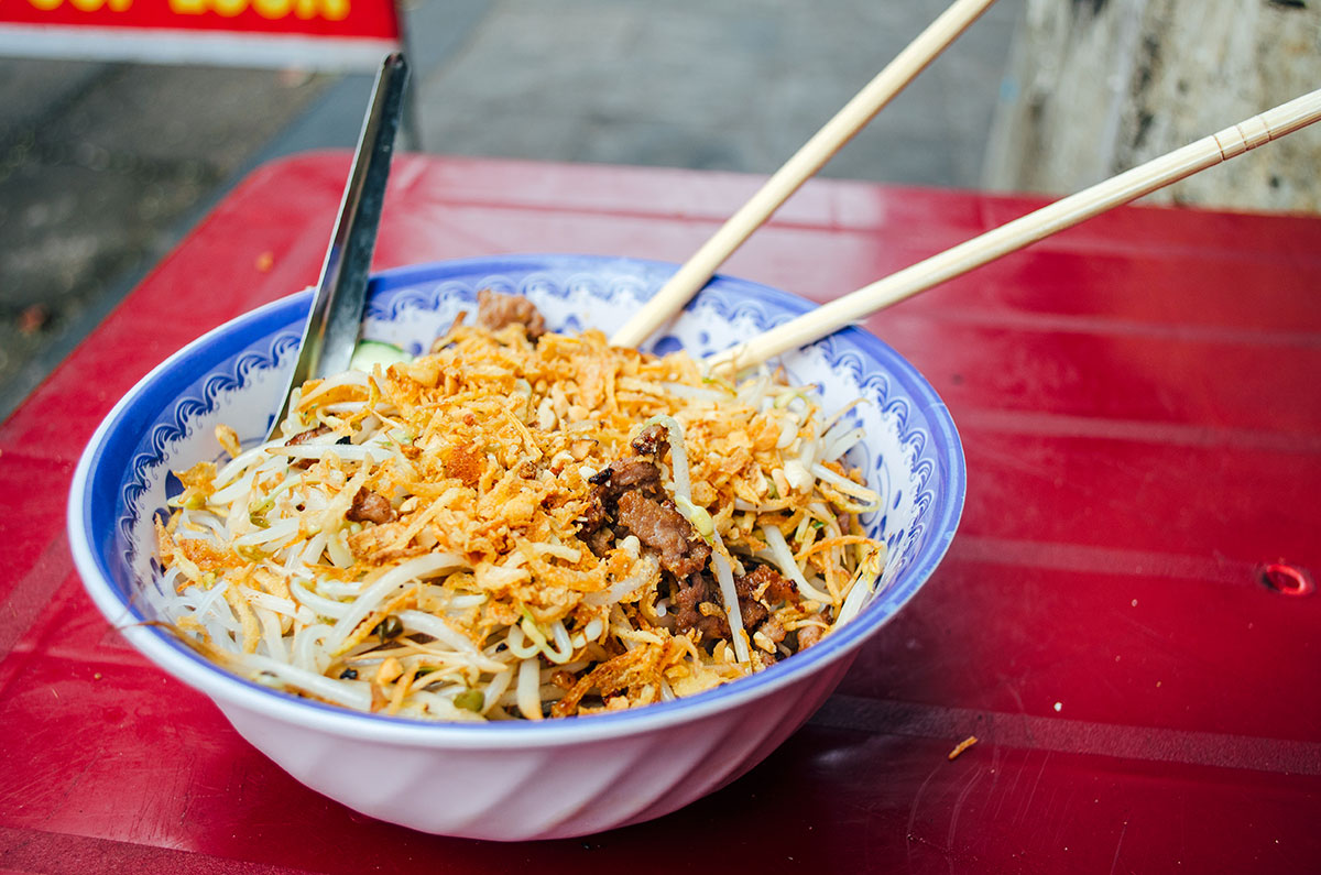 A bowl of noodles we bought in the street while in Hanoi Vietnam