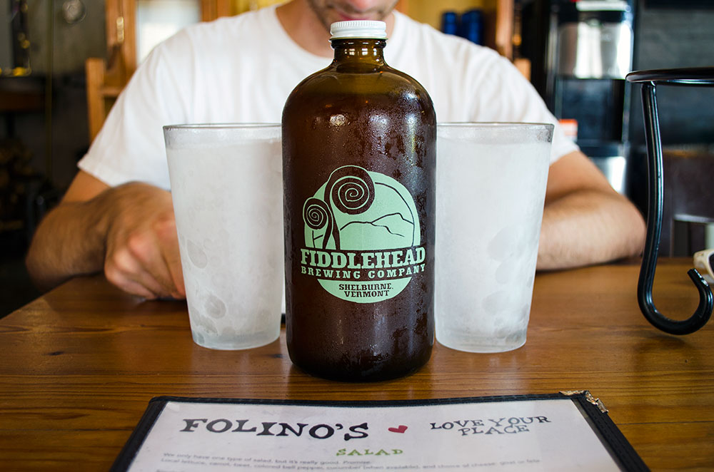 A growler from Fiddlehead Brewery in Burlington Vermont