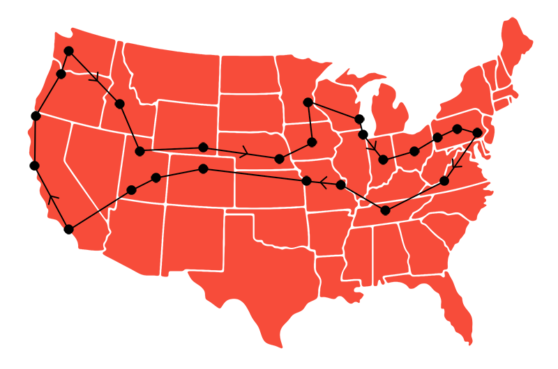 A map of our preliminary West Coast road trip stops